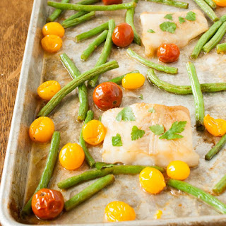 Butter and Soy Sauce Sheet Pan Fish Dinner.