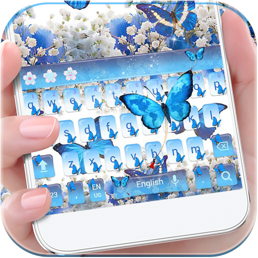 Blue Butterfly Keyboard Theme Baby's Breath Flower