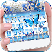 App Blue Butterfly Keyboard Theme Baby's Breath Flower APK for Windows Phone