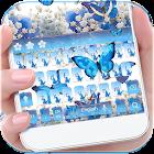 蓝色蝴蝶满天星键盘主题 + 满天星花朵键盘壁纸 icon