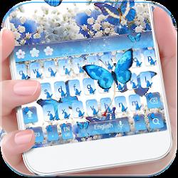 Blue Butterfly Keyboard Theme Baby's Breath Flower