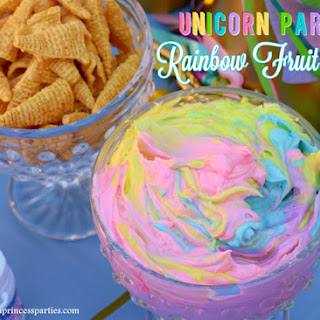 Unicorn Party Rainbow Marshmallow Cream Cheese Fruit Dip.