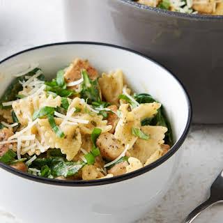 One-Pot Creamy Pesto Chicken Pasta.