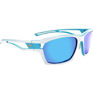 Optic Nerve Cassette Sunglasses: Powder Blue/White, with Smoke Ice Blue Mirror Lens and additional Copper Lens