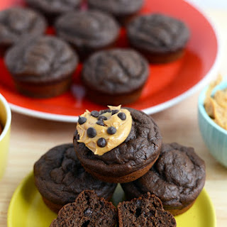 Healthy Chocolate Peanut Butter Muffins.