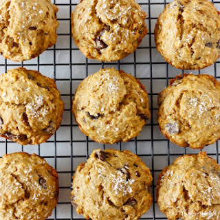 Vegan Banana Coconut Dark Chocolate Chip Muffins.