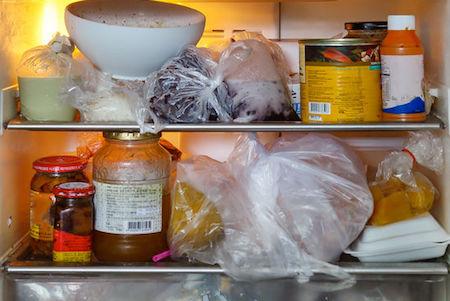 Crammed full refrigerator