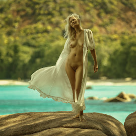 Breeze by Dmitry Laudin - Nudes & Boudoir Artistic Nude ( breeze, nude, woman, sea, beach, stones, heat, tropics, granite )