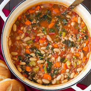Mediterranean Kale, Cannellini and Farro Stew.