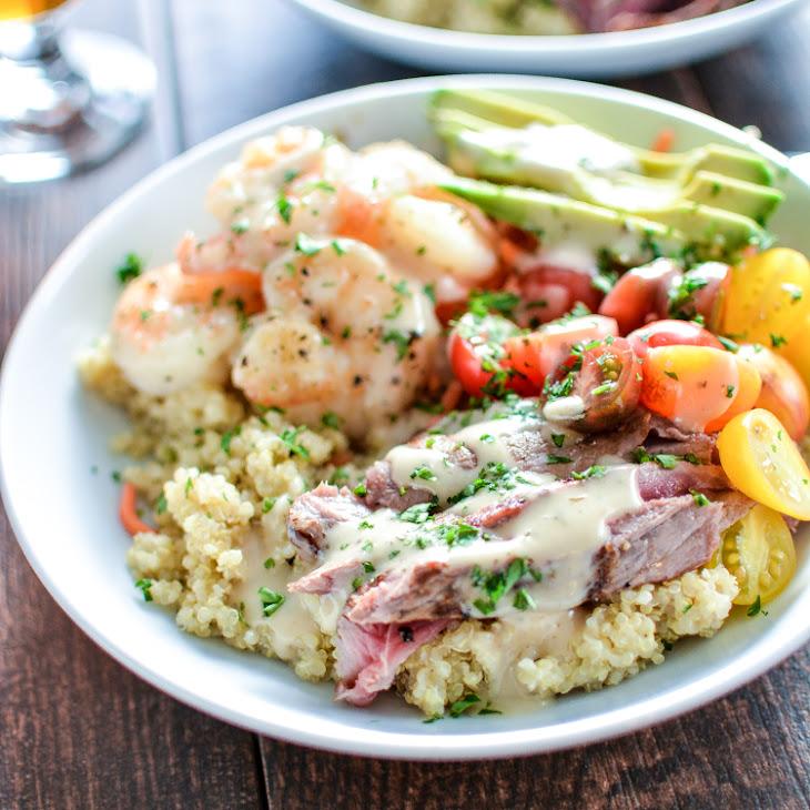 Surf and Turf Quinoa Bowls with Roasted Garlic Vinaigrette Recipe