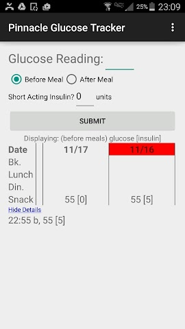 android Pinnacle Glucose Tracker Screenshot 1