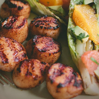 Grilled Sea Scallops with Grilled Romaine and Citrus Salad.