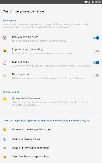 Screenshot 5 for Quartz's Android app'