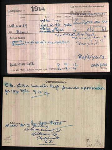 Denis  Hickey MC's Medal Index Card