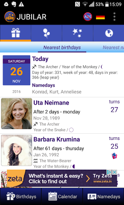 Birthdays and important dates - screenshot