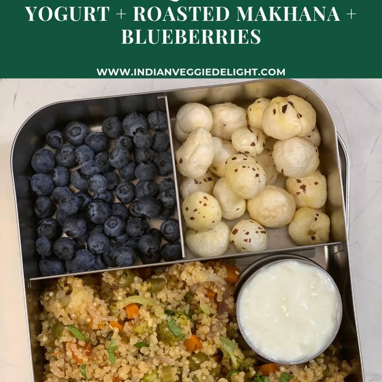 Vegetable Quinoa Pulao & Yogurt + Roasted Makhana + Blueberries