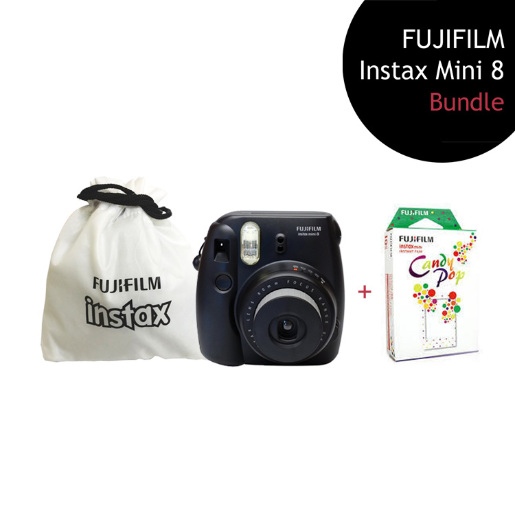 [Bundle] FUJIFILM Instax Mini 8 Camera (Black) + Candy Pop Film Pack + Instax Pouch by My Pocket Net Sdn Bhd