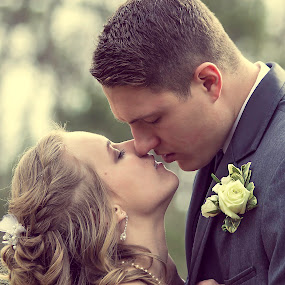 Pre-Kiss by Josiah Blizzard - Wedding Bride & Groom ( love, kiss, allen, blonde, vintage, wedding, suit, will, couple, bride, groom, heidi )