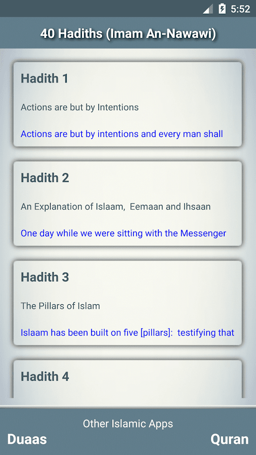 40 hadiths (An-Nawawi)- screenshot
