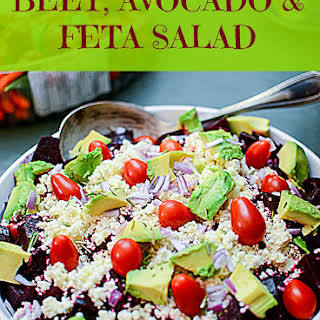 Healthy Beet Avocado and Feta Cheese Salad.