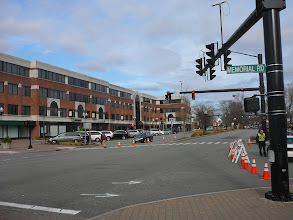 Photo: Business Block across from BlueBack Sq. Memorial Rd leads to BlueBack on the right. Crate&Barrel, Church, Library are just off-camera to the right