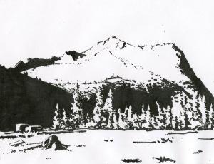 Lloyd's drawing of Vogelsang Peak in Yosemite