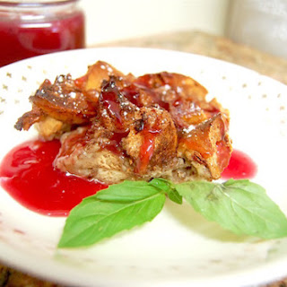 Bagel French Toast Bake with Sweet Plum Sauce