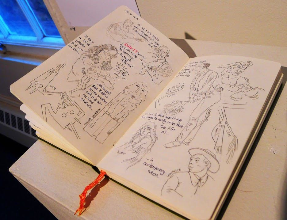 A sketchbook spread from Wintersession in Cuba