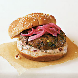Hoisin Chicken Burgers with Pickled Red Onions