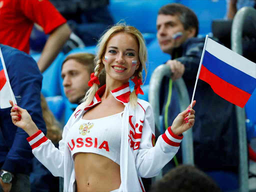 A Russia fan before the Wolrd Cup match against Egypt at Saint Petersburg Stadium, June 19, 2018. /REUTERS
