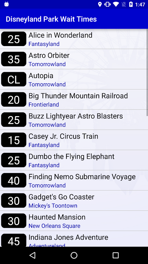 Wait Times for Disneyland- screenshot
