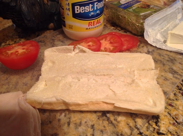 Open the two Hoagie Buns (you may want to separate them) and spread both...