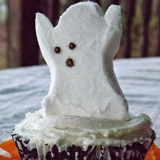 Chocolate Halloween Peep Cupcakes