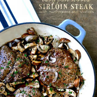 Sirloin Steak with Mushrooms and Shallots.