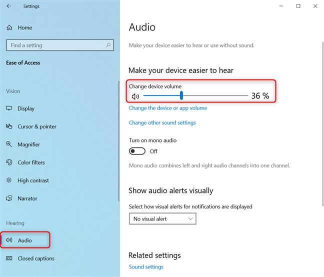 Change device volume in Windows 10