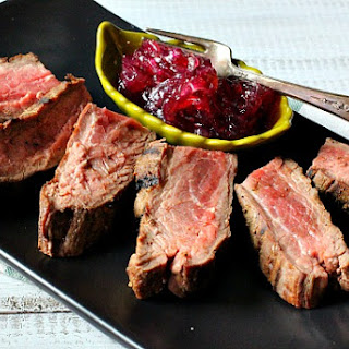 Pan Seared Flank Steak with Onion Marmalade.