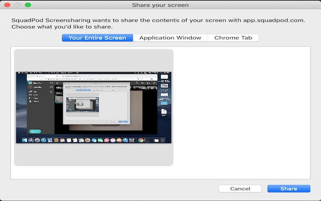 SquadPod Screensharing