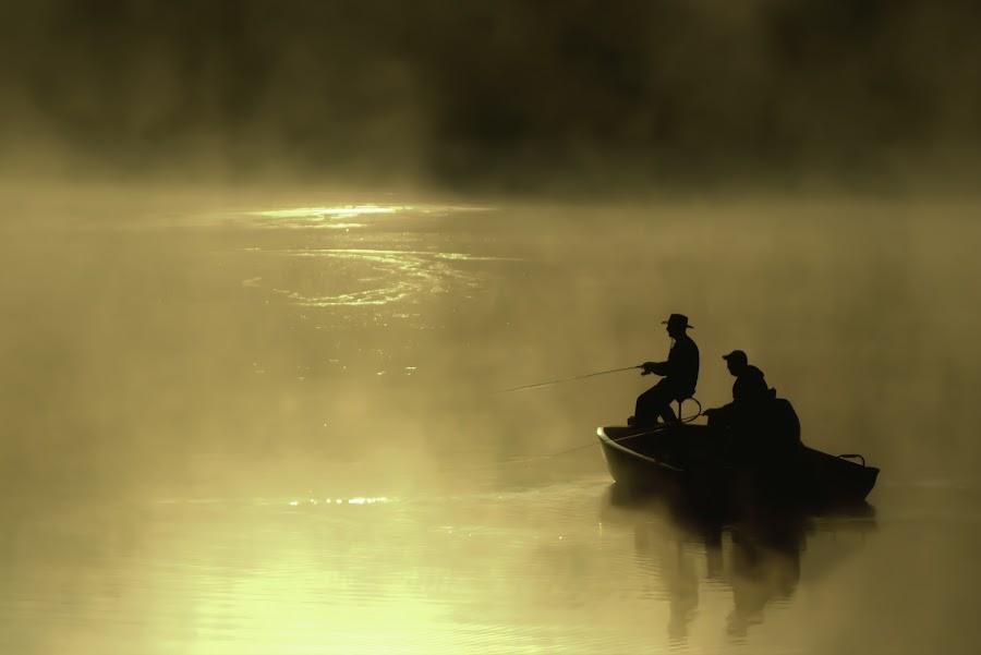 MOMENTS IN THE SUN by Dana Johnson - Transportation Boats ( golden hour, fishing, silhouette, boats, lake, transportation, fog, morning )