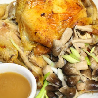 Roast Chicken with Scallions and Mushrooms for #SundaySupper