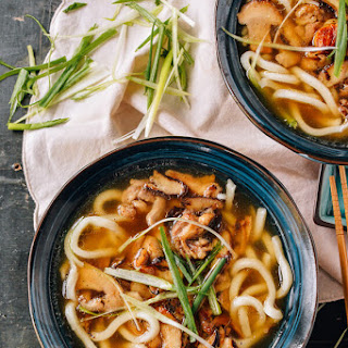 Udon Noodle Soup with Chicken & Mushrooms.