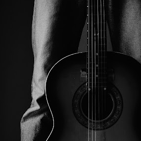 The Guitar and I by Zaddam Hussein H.R - Artistic Objects Musical Instruments ( selfie, badploi, selfpotrait, self potrait, guitar, nikon d3200, ploi, gary fong, self portrait )