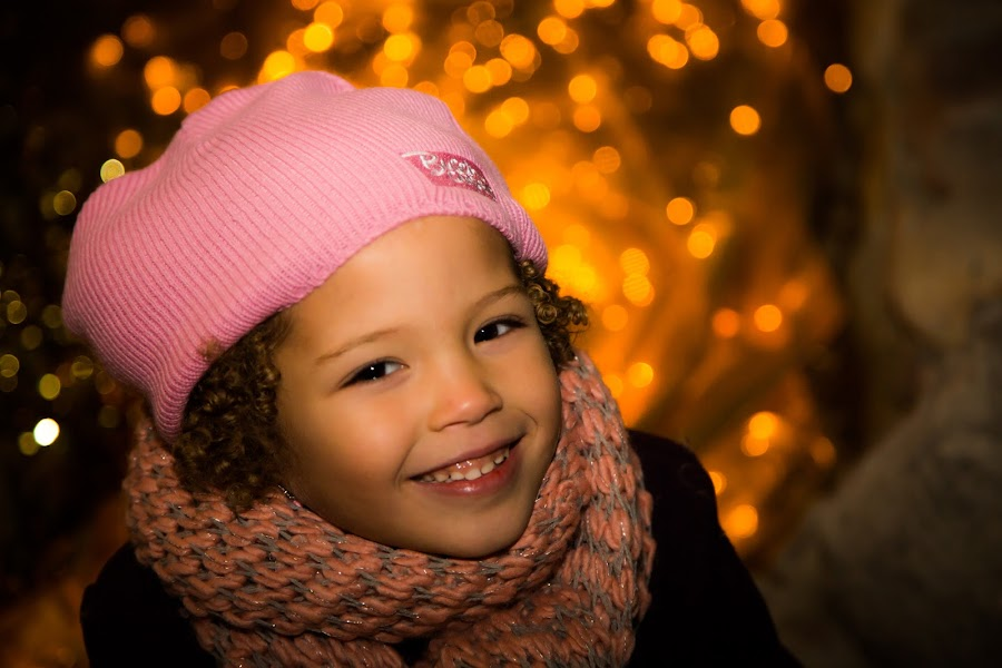 the smile by Joseph Belcher - Babies & Children Child Portraits ( winter, girl, cold, curls, mixed, scarf, smile )