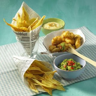 Fish and Parsnip Chips with Guacamole and Aioli.