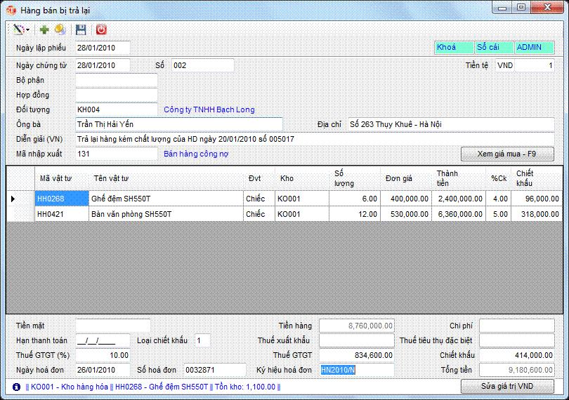 Hàng bán bị trả lại phần mềm kế toán 3tsoft