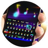 Neon dance notes keyboard