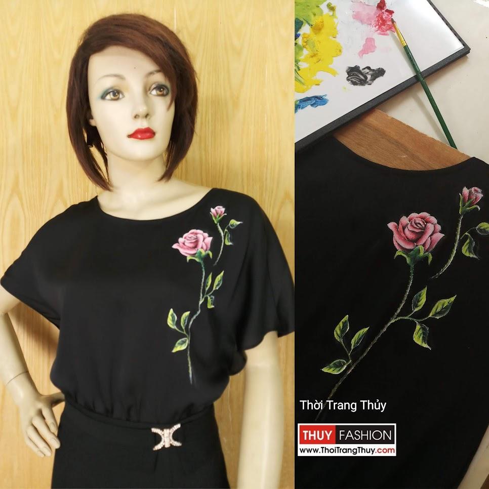 Váy vẽ tay thủ công họa tiết hoa hồng V624 tại Hải Phòng