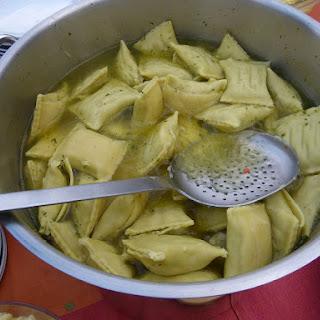 (German meat-filled pasta dumplings).