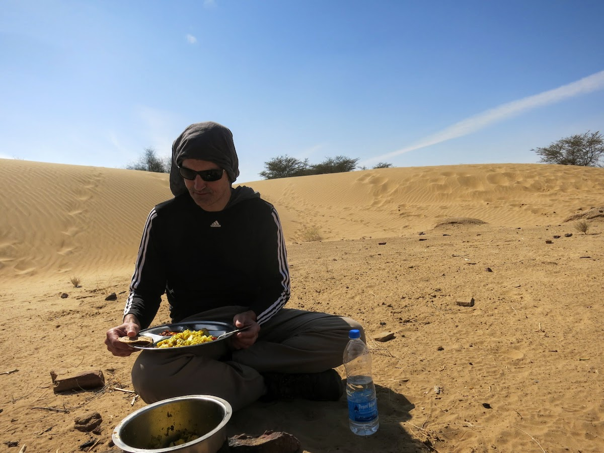 India. Rajasthan Thar Desert Camel Trek. Lunch at the Lokhri Dunes