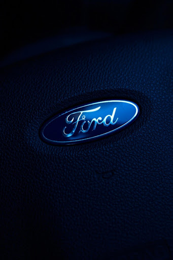 Ford Logo on a steering wheel.