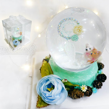 [現貨/stock] 薄荷綠捕夢網熊仔水晶球 Tiffany Blue Dreamcatcher Crystal Ball
